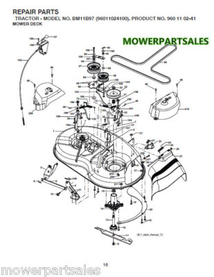61 Mower Deck Assembly Part 2 likewise Troybilt Tbwc33xp 12ae763z011 2012 Selfpropelled Walkbehind Mower Parts C 26780 26781 184004 in addition Cub Cadet Hydrostatic Drive Pump likewise Noma Lawn Tractor Wiring Diagram besides T9395706 Pulley adjust. on craftsman riding mower deck belt diagram