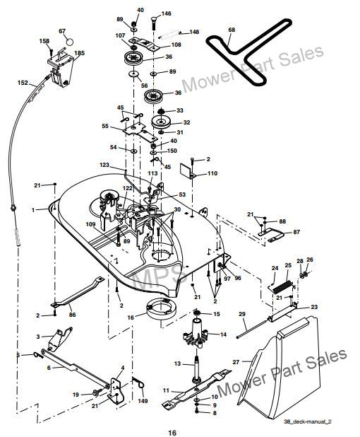 Cub Cadet Hydrostatic Transmission Diagram together with Troy Bilt 46 Mower Deck Diagram besides John Deere 46 48 50 54 Decks furthermore Frame Assembly in addition Mower Deck 38 Inch. on cub cadet deck drive belt